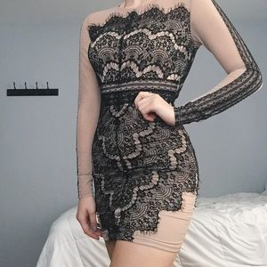 Dresses & Skirts - Black Lace & Nude Dress